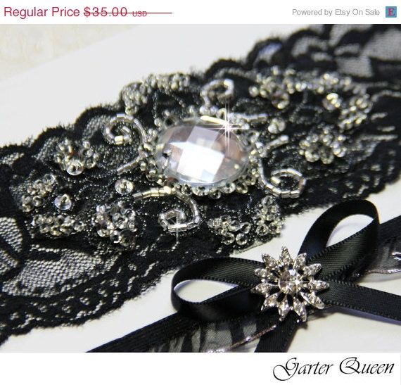 Black Lace Bridal Garter Set Gothic Wedding Goth Stretch And Beaded Crystal Applique