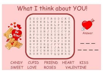 What I Think About YOU!  Valentine Word Search SMARTBoard and PDF Word Search I use this word search with my students on our party day.  $