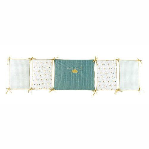 Protector de cuna bebé de algodón amarillo/verde 45 x 180 cm GASTON