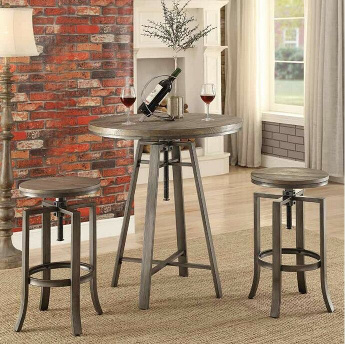 3 Pc Set Industrial Styles Collection Brushed Slate Grey Finish Metal Frame  And Wire Brushed Nutmeg Top Bar Table And Stools. Table Measures X X   H.  Stools ...