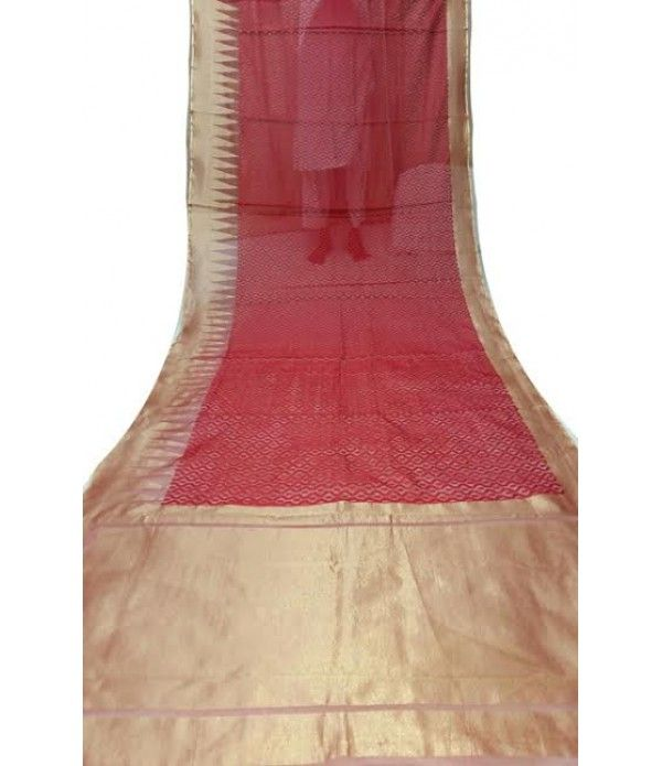 Red Handloom Banarasi Jute Net Saree