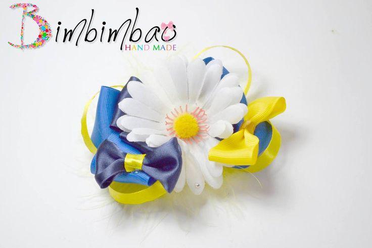 fiocco fermaglio molletta fermacapelli bambina ragazza in nastro con un grande fiore margherita bianco, by Bimbimbao hand made, 10,00 € su misshobby.com