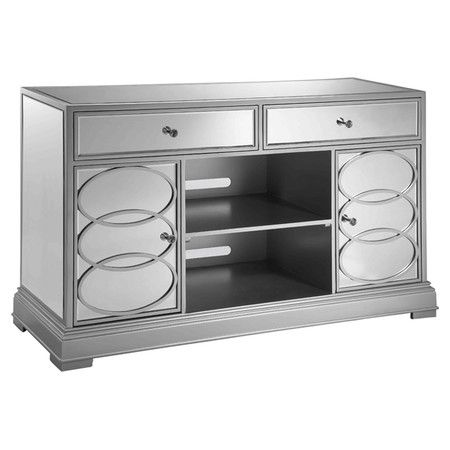 "Two-drawer mirrored media console with two doors and two open compartments.  Product: Media consoleConstruction Material: Wood and mirrored glassColor: SilverFeatures:  Two doorsTwo drawers Dimensions: 32"" H x 54"" W x 18"" D"