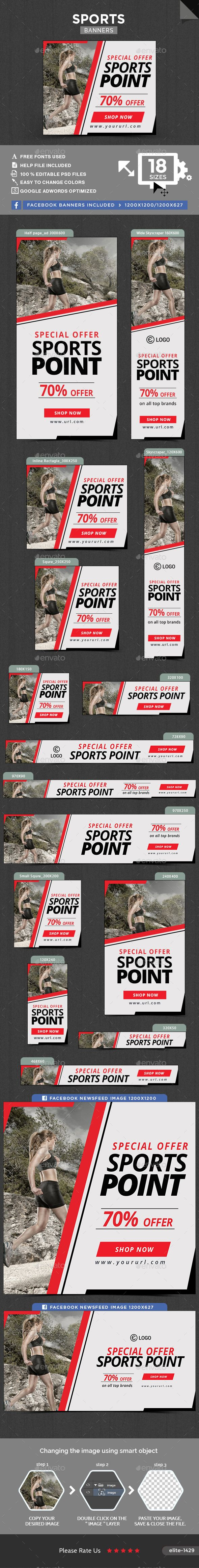 Sports Banners — Photoshop PSD #business #banner pack • Available here → https://graphicriver.net/item/sports-banners/15930049?ref=pxcr