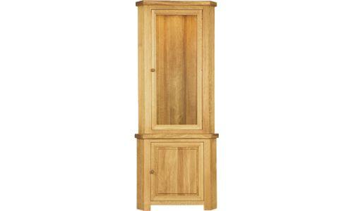 Oak Glass Corner Display Cabinet: Owen Pine And Oak