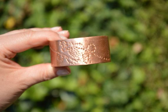 stamped bracelet statement bangle handmade jewelry by CopperFinger