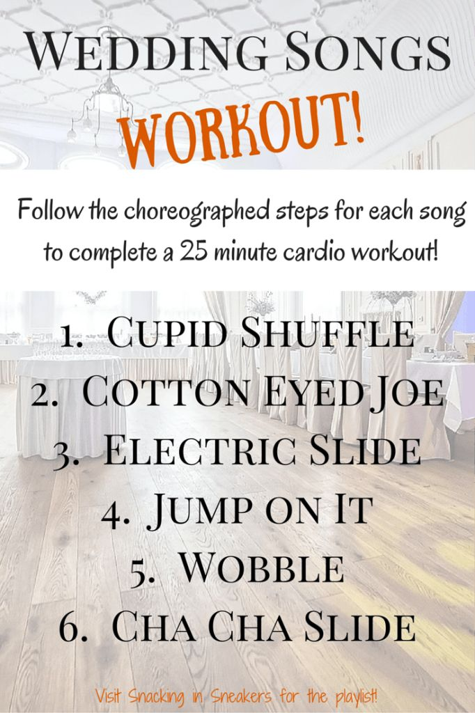 Wedding Songs Workout!  Funny 25 minute workout using the coreographed steps of your most loved (hated?) wedding line dance songs!