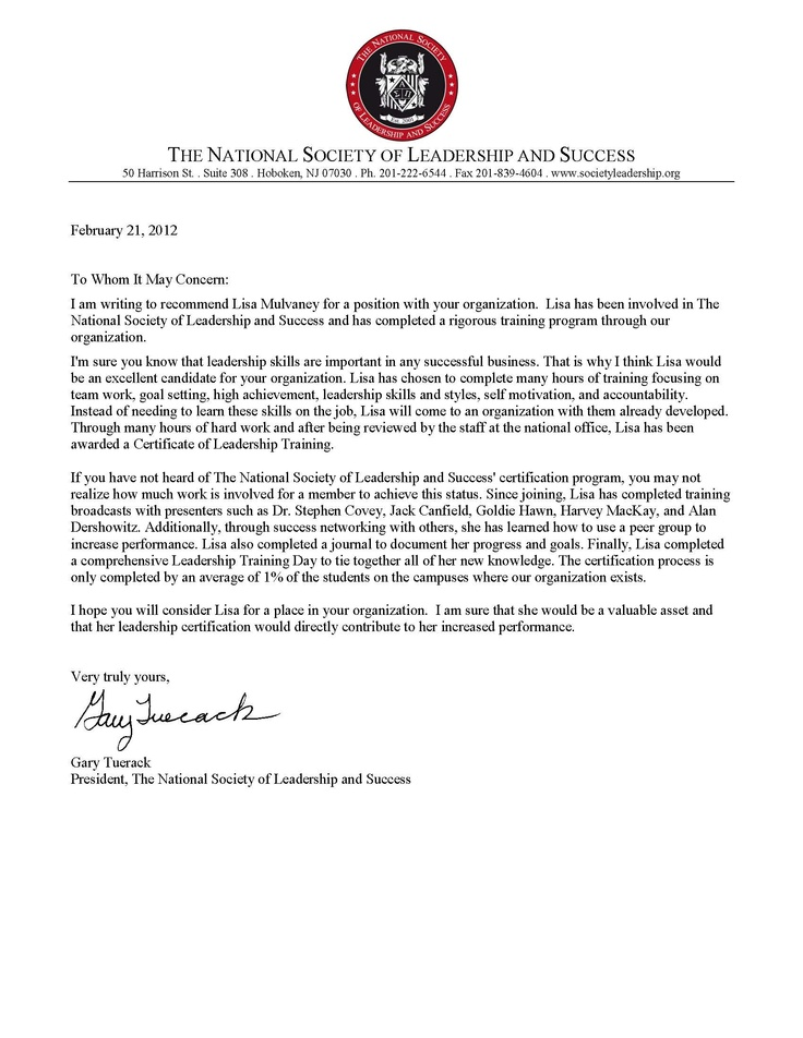 Letter of remendation from The National Society of
