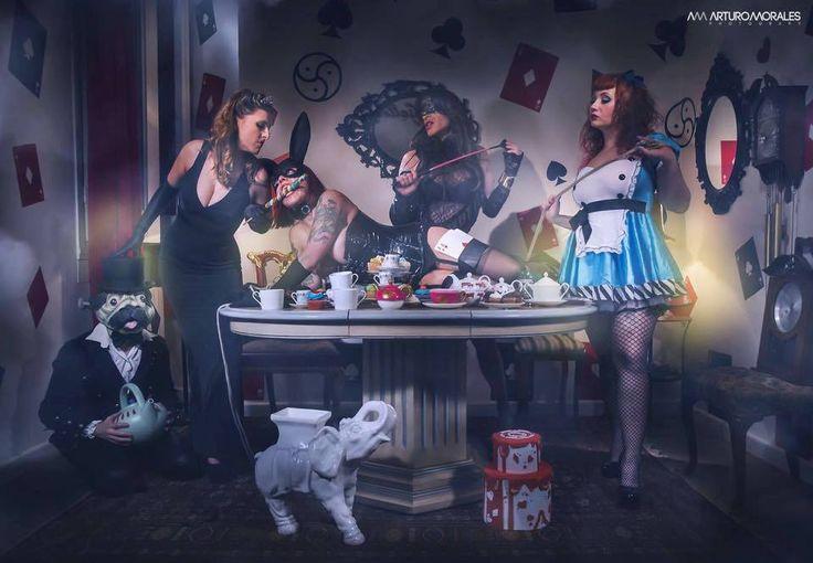 """The Femdom Tea Party"" Dómina Gea, Zorru, @ziodillinger, LadyAriden y LolaCross. By: Arturo Morales (May16, Madrid) In: #TheSecretGallery"