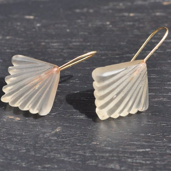 """Art Deco Fan Earrings   These earrings are...in a word...awesome. They're from the '30s and are made from rock crystal and 14k gold. The """"fan"""" look they've got going on is very Art Deco and the color is a beige-blush."""