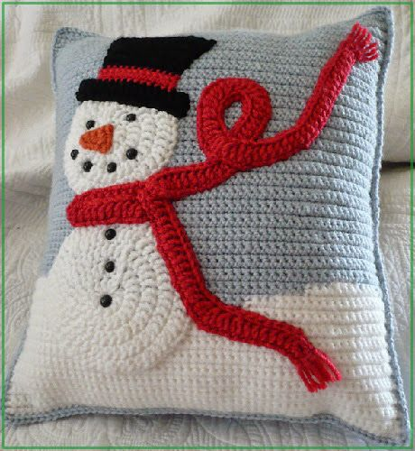аппликация снеговик крючком для подушки