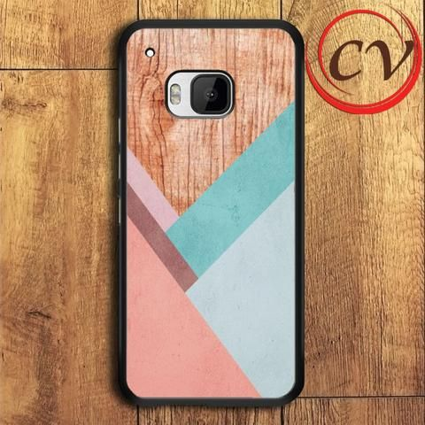 Wood Chevron Pastel Stripe HTC One M9 Black Case