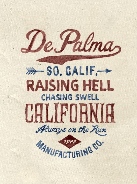 Brush lettering for DePalma Clothing by BMD Design , via Behance