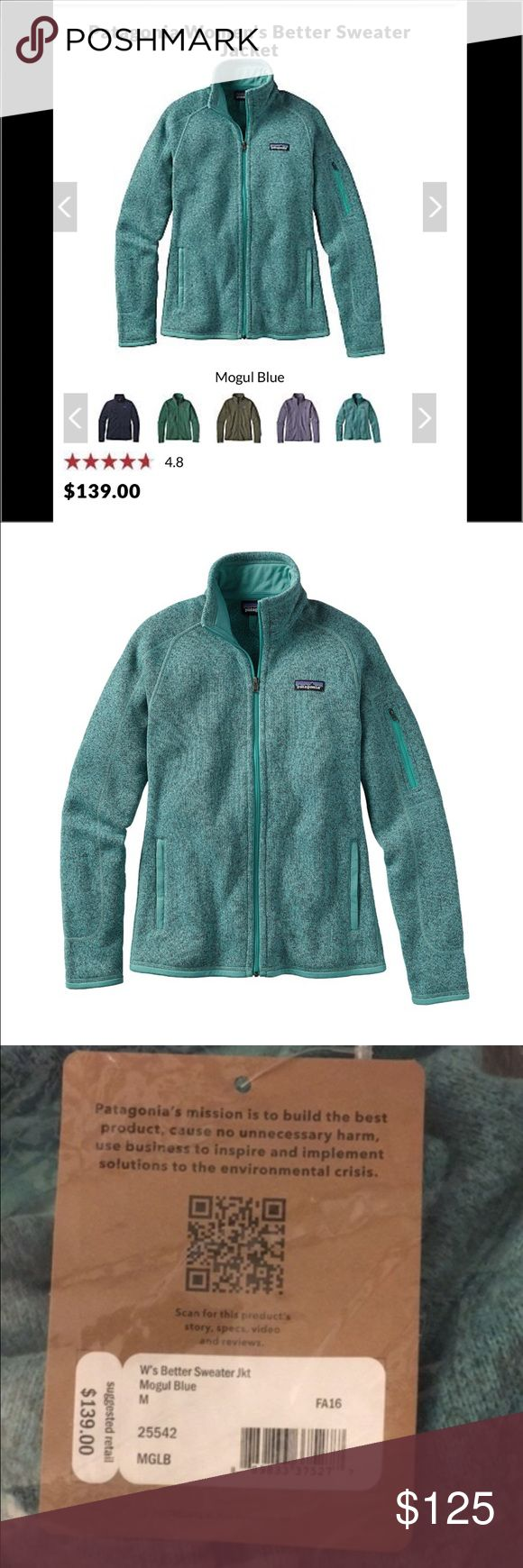 NWT Patagonia better sweater Women's size medium NWT better sweater in the color mogul blue! This retails for $139. I have a few of these and absolutely love them! If you have any questions don't hesitate! Willing to go cheaper if you want to bundle! Cheaper on Ⓜ️ and 🅿️🅿️! The grey sweater is not for sale it's just posted to show the details of the blue sweater! Thank you! Patagonia Sweaters
