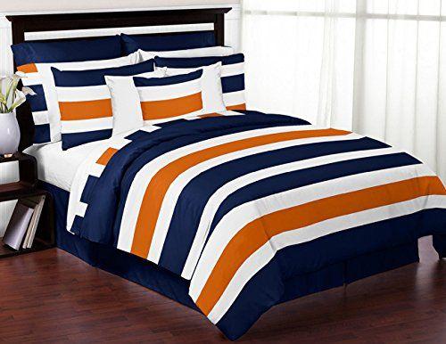 Sweet jojo designs navy blue orange and white childrens teen 3 piece full queen boys stripe - Blue and orange bedding sets ...
