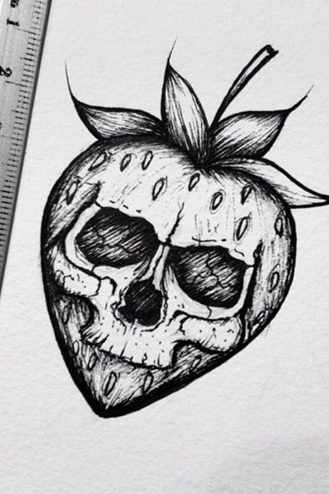 The Evil Strawberry To Me I M Allergic Skulls Drawing Art Sketches Kawaii Drawings