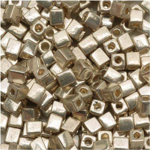 Amazon.com - Miyuki 4mm Glass Cube Beads Metallic Silver #1051 10 Grams