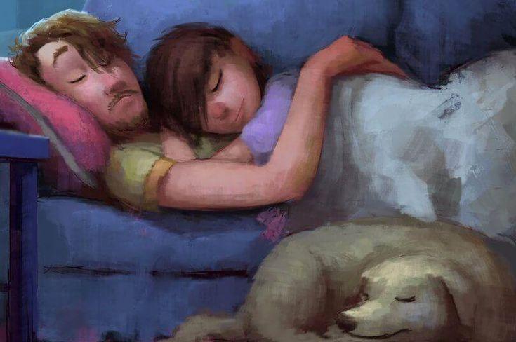 Casal abraçado sobre um sofrá com cachorro