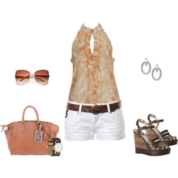 : Shoes, Leaf Prints, Chiffon Tops, White Shorts, Summer Ruffles, Summer Outfit, Shirts, Summertime, Summer Time