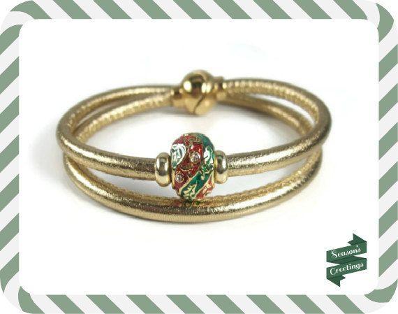 Metallic Gold Christmas Leather Bracelet by RealLeatherBracelets