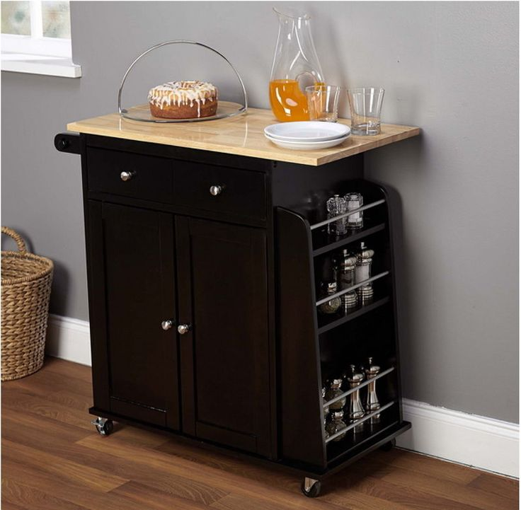 Contemporary Kitchen Cart Towel And Spice Rack Black With Natural Top Finish New