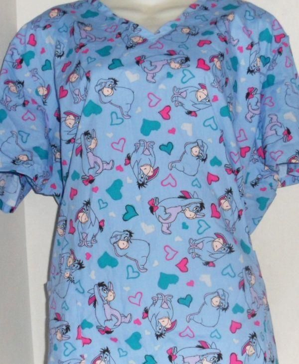 30ce5af94d7 DISNEY EEYORE HEART PRINT VET DENTAL NURSE SCRUB UNIFORM TOP SHIRT 2XLARGE  #Disney