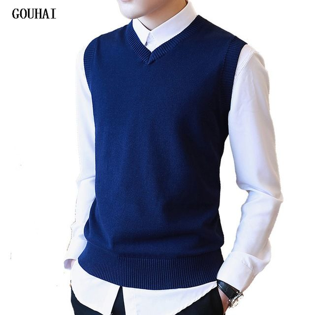 Big Promo $12.52, Buy Sweater Men 100% Cotton Solid V Neck Casual Male Sweater Vest Men Pullover Knitted Sleeveless Men Sweater Christmas M-3XL