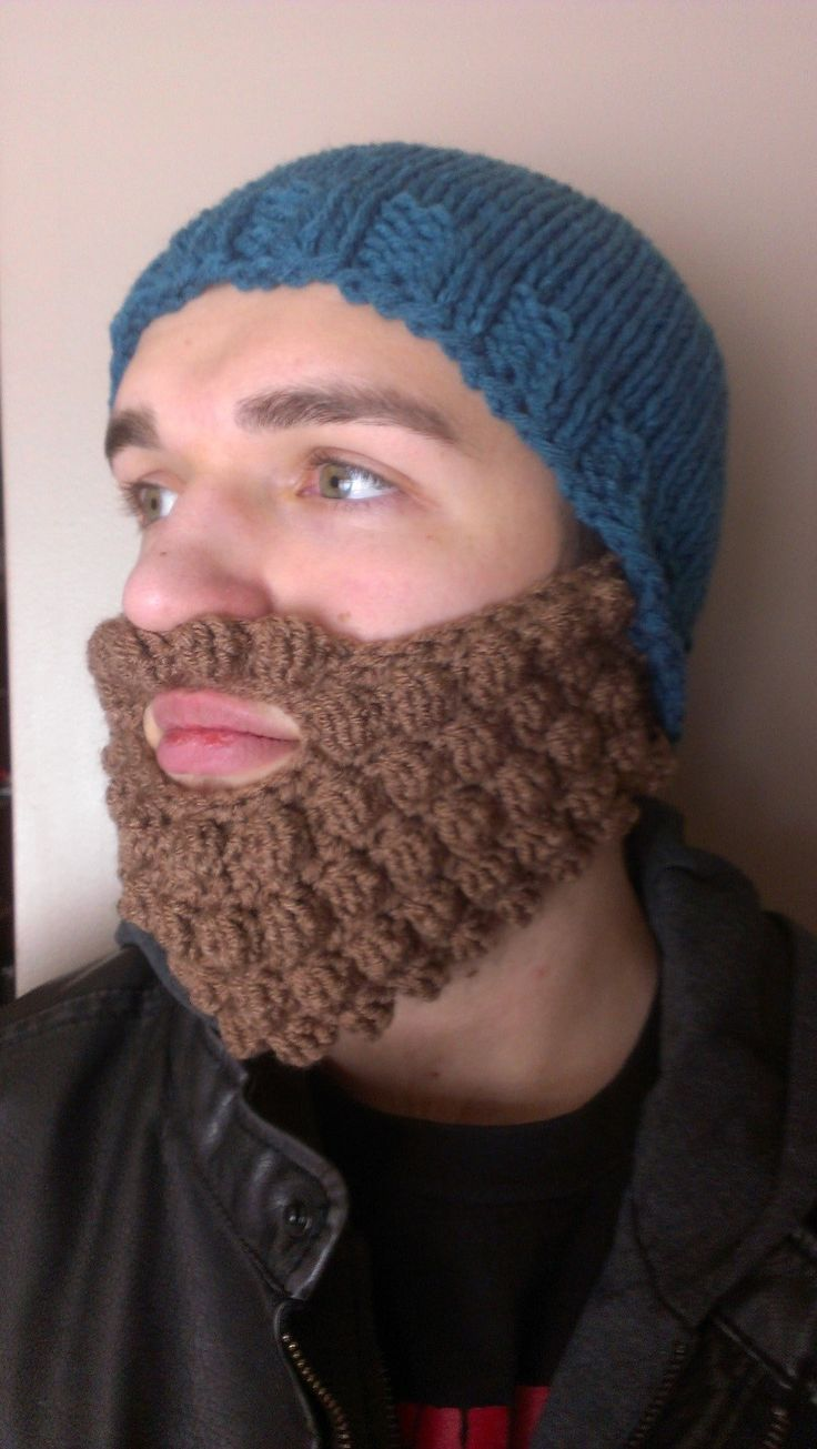 Fun bearded hat pattern. Knit hat and crochet beard pattern is inexpensive to...