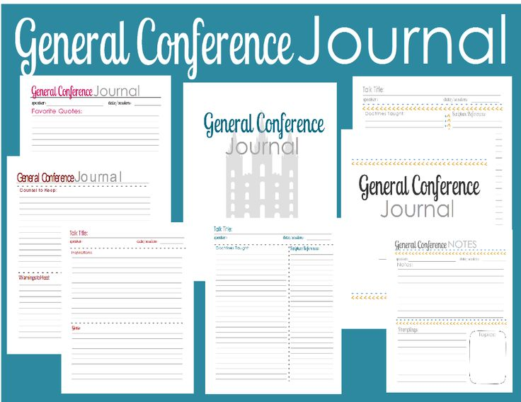 Plenty of Paprika: General Conference Notes & Journal Pages (FREE printable) 6 journal pages in 4 different colors (red, pink, blue, orange) and 1 fun color design - cover page - notes page (to take notes during conference) - quotes & insights page - doctrines taught & scripture references page - inspirations & goals page - counsel and warnings page (to collect all counsel and warnings on 1 page from conference)