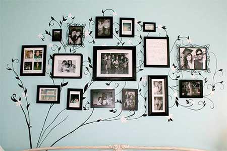 Decoração de Porta Retrato de Parede com Várias Fotos