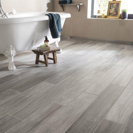 Carrelage sol et mur gris effet bois Way l.15 x L.90 cm