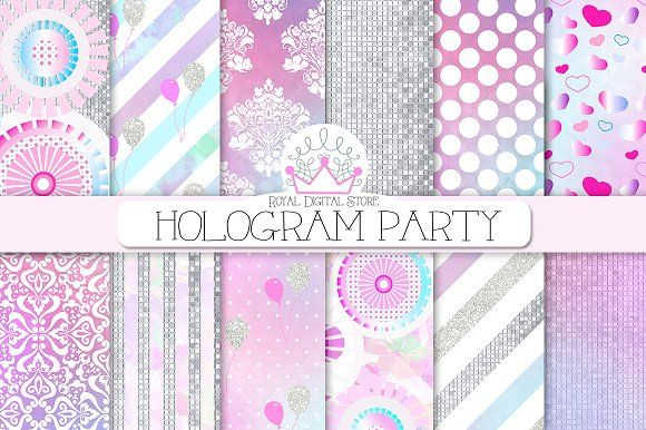PARTY hologram/watercolor background by RoyalDigitalStore on @creativemarket #partyplanner #party #watercolor #hologram #pink #textures #invitations #pattern #silver #partysupplies