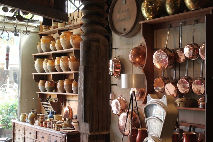 French Copper Pots & Pans and Confit Storage Jars. French Antique Shop.