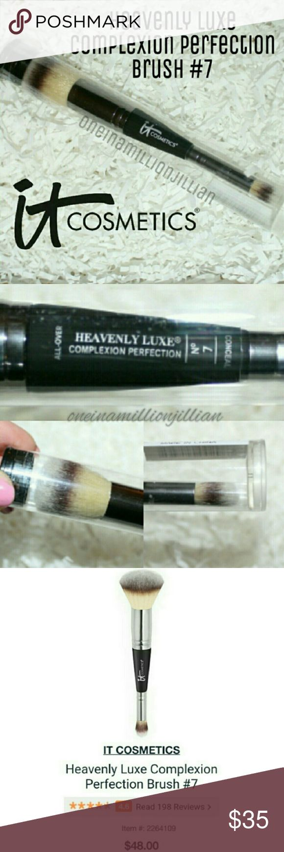 IT Cosmetics Heavenly Luxe Complexion Brush #7 New in Reusable Protective Tube/Sealed  Full Sz & Authentic  The ultra-plush, ultra-luxe large end allows you to quickly apply your foundation to larger areas with a beautiful airbrushed finish, while the micro-end allows for the most accurate precision in even the smallest spaces. Heavenly Luxe Dual Airbrush Foundation/Concealer Brush is a 100% cruelty-free, high-quality brush & is extremely soft & great for even the most sensitive skin!  Check…