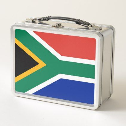 Metal Stainless Lunchbox with South Africa flag - kitchen gifts diy ideas decor special unique individual customized