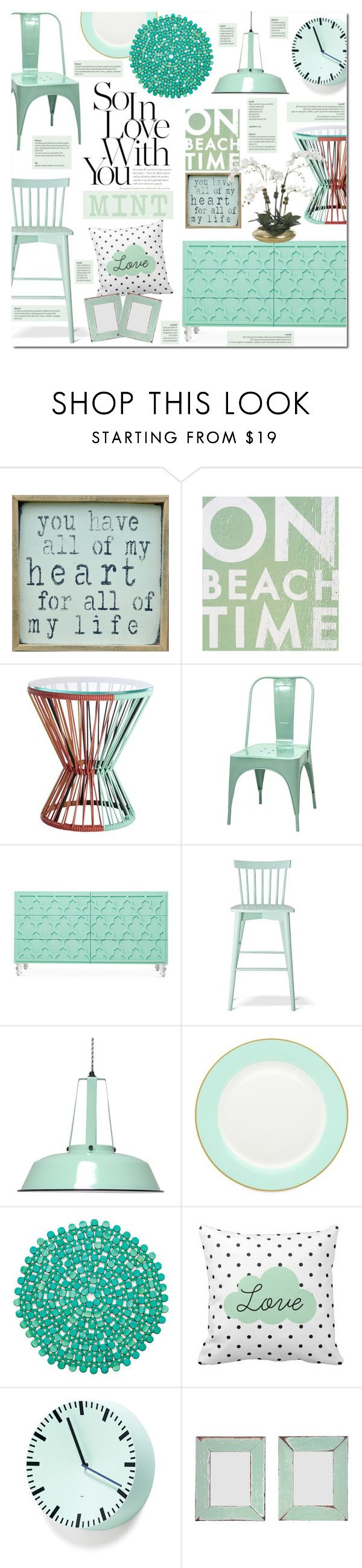 """""""Love Mint"""" by justlovedesign on Polyvore featuring interior, interiors, interior design, home, home decor, interior decorating, Pink Marmalade, Go Jump in the Lake, CB2 and Dot & Bo"""