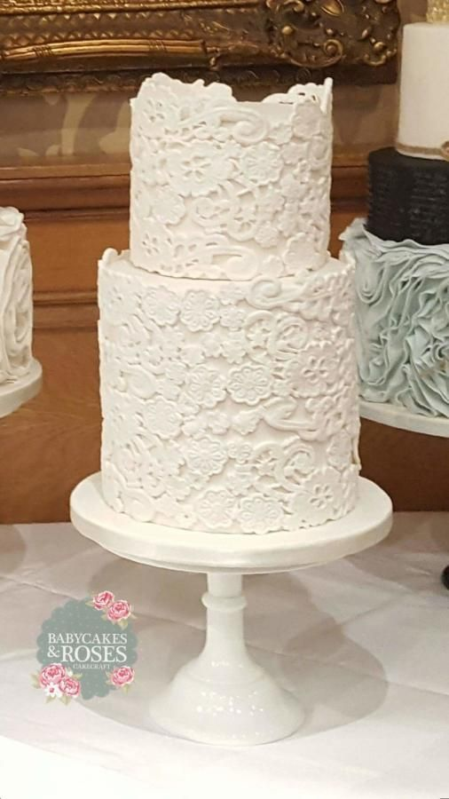 Extended Tier Lace Wedding cake by Babycakes & Roses Cakecraft - http://cakesdecor.com/cakes/271504-extended-tier-lace-wedding-cake