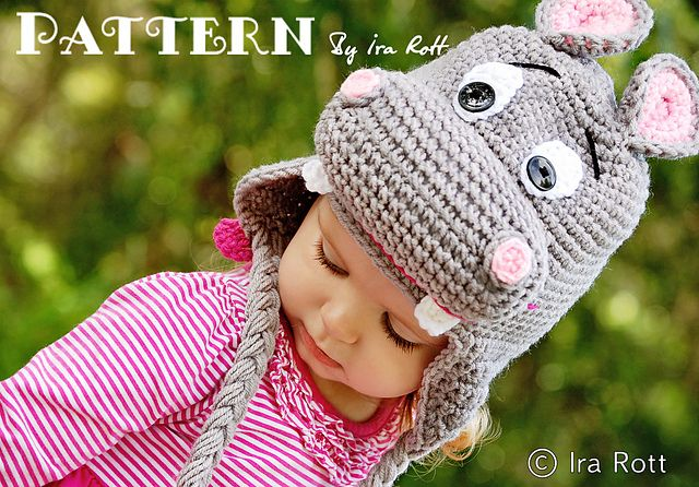 Ravelry: Happy Hippo the Hippopotamus Hat - Crochet PDF Pattern pattern by Ira Rott