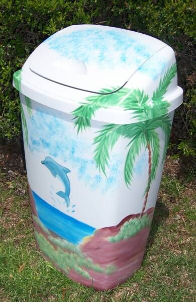 Hand Painted Dolphin Trash Can