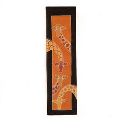 Wall Hangings ~ Animal Kingdom Designs Small Rectangle $35.00 USD Multi-purpose wall hanging decorated with beautiful giraffe design, painted in rich terracotta and earth tones. Hemmed all around with full-width pocket along top edge for hanging pole. Can also be used as a Tablecloth or throw.