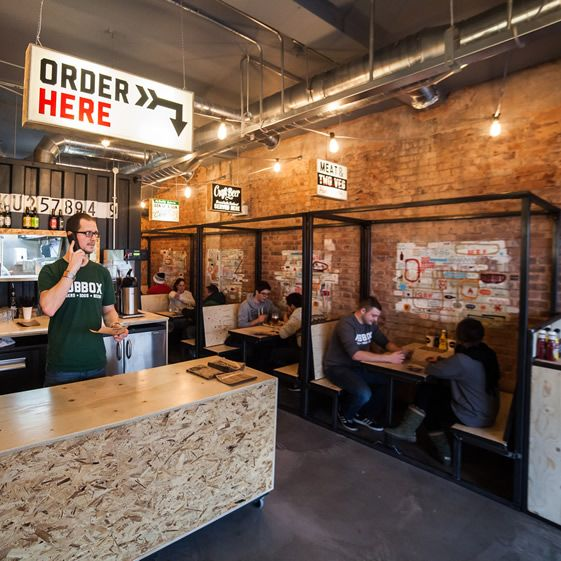 The project was a cost-conscious one that re-used and recycled wherever possible. Much of the interior was made off site, lifted in and bolted down to save time, and the two counters at either end of the shop remain a moveable feature allowing for flexibility if functions demand it...