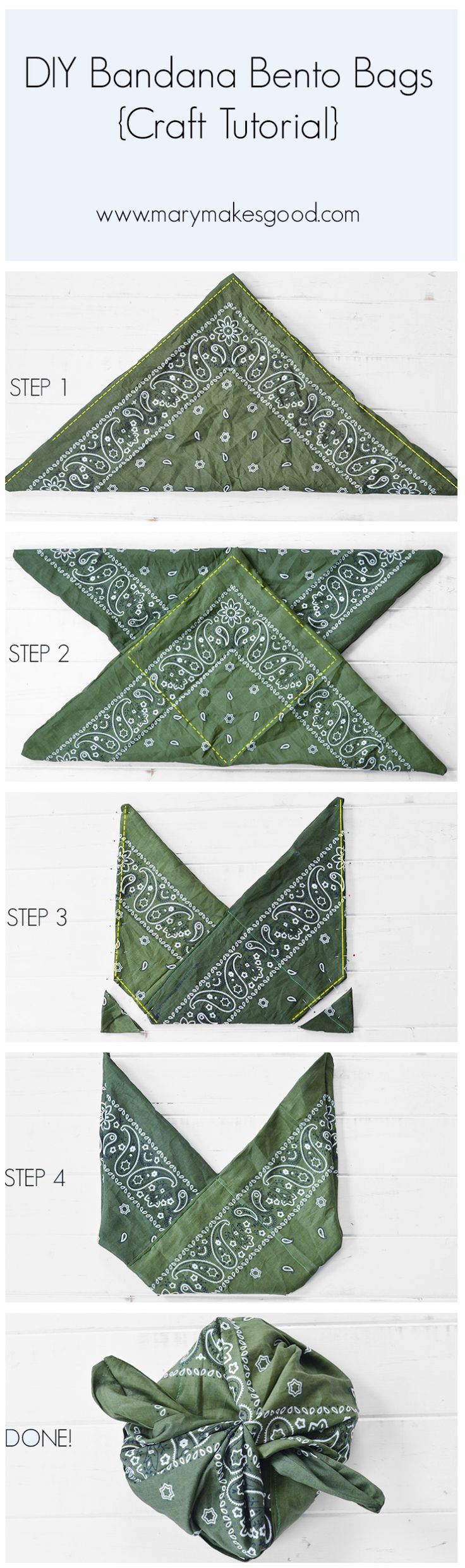 DIY Bandana Bento Bags {Craft Tutorial} So easy! No cutting. No measuring! | Sponsored by @MorningstarFrms #mywaytoveg #ad