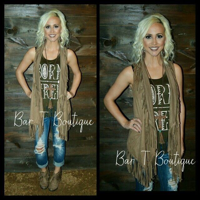 Suede Fringe Vest ~ Follow @bar_t_boutique on Instagram to Shop Weekly New Arrivals!