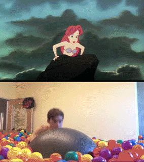 "The Little Mermaid reenacted in a ball pit. ""Up where they walk, up where they run, up where they play all day in the balls!"""