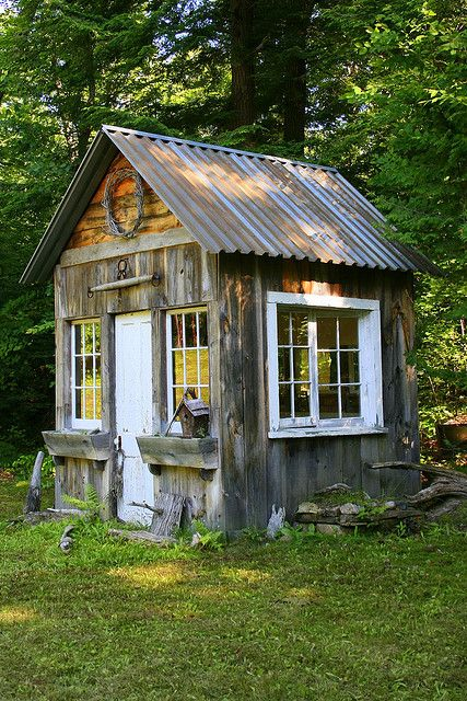 Rustic Garden Shed: Tin Roof, Window Boxes, And Windows That Open For  Circulation.
