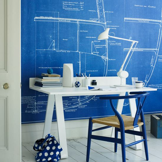 Blue and white home office with oversized canvas