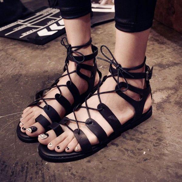 2016 мода женщин кольцо Toe стринги ремешками вырезать гладиаторы сандалии пряжки зашнуровать обувь для свадьбы ну вечеринку кросс-одевания горячие продаж