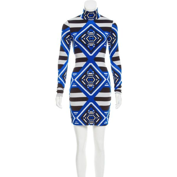 Pre-owned Mara Hoffman Patterned Bodycon Dress ($85) ❤ liked on Polyvore featuring dresses, black, long sleeve print dress, black and white print dress, black and white dresses, long sleeve body con dress and black and white long sleeve dress
