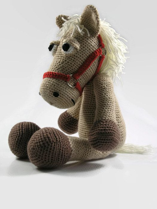 Crochet horse  stuffed horse  crochet pony  toy by Hippehaakselss
