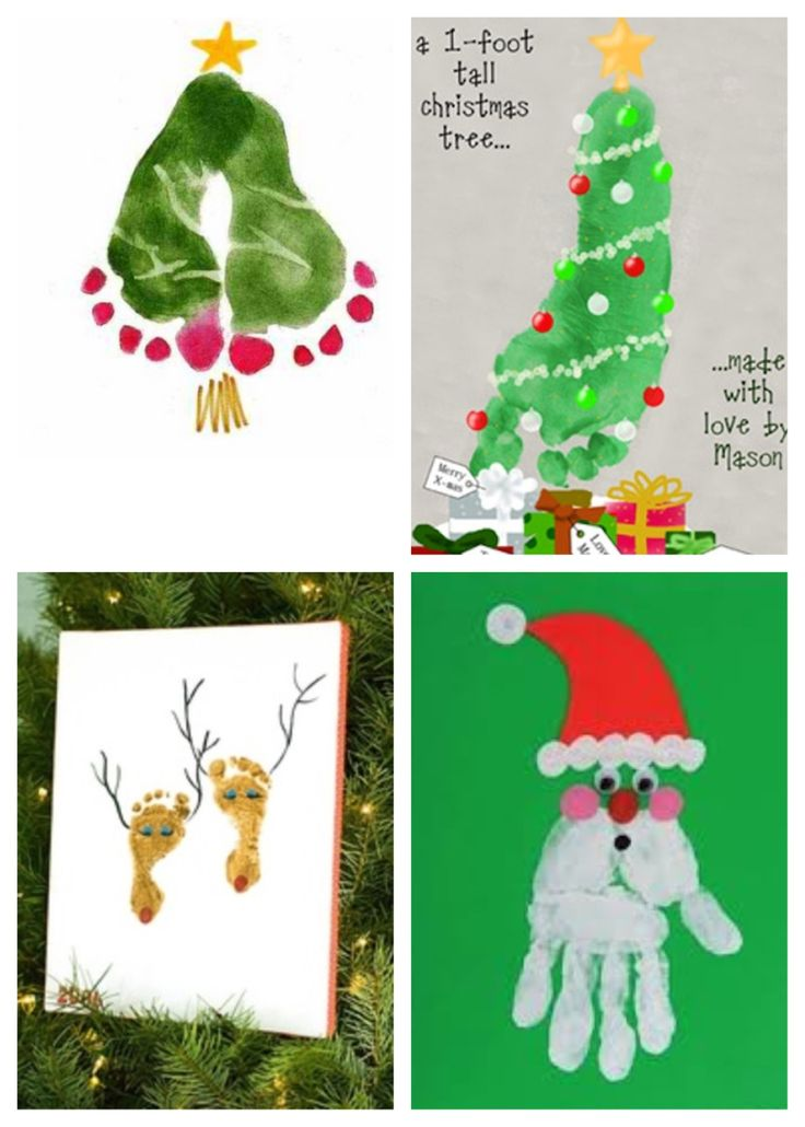 Christmas Handprint Art ideas-Like this Santa too. Double foot tree is cue too, I've seen others that look a bit better.